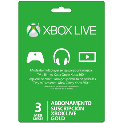 MICROSOFT Card Live Gold 3 Mesi Xbox 360/One  Default image