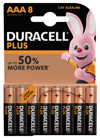 DURACELL PLUS AAA BATTERIE ALCALINE X8 1.5V LR03 MN2400  Default image