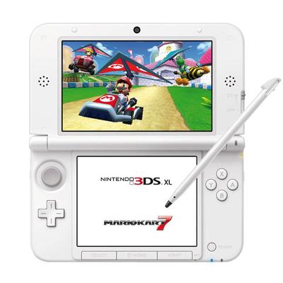 Nintendo 3ds nintendo 3ds xl bianca mario kart 7 - Console 3ds xl blanche avec mario kart 7 ...
