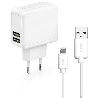 SBS ACCESSORI TELEFONICI Kit caricabatterie USB con cavo Lightning  Default image