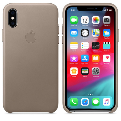 APPLE iPhone XS Leather Case - Taupe  Default image