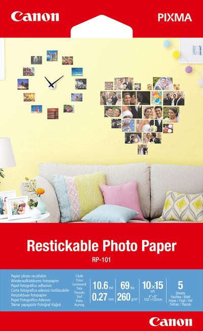 CANON RESTICKABLE PHOTO PAPER RP-101 4X6 5 SHEETS  Default image
