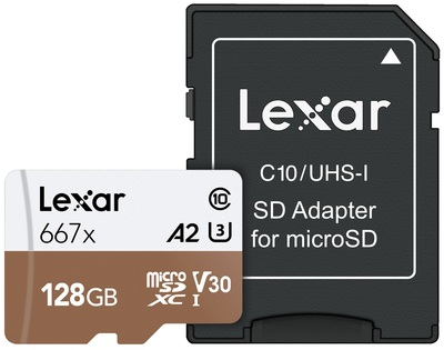 LEXAR MICROSDXC 667X 128GB W/ADAPTER  Default image