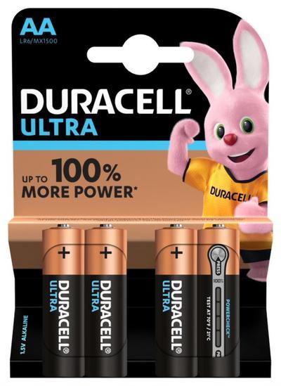 DURACELL ULTRA AA CON POWERCHECK BATTERIE X4 STILO  Default image