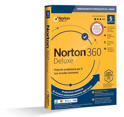 SYMANTEC NORTON 360 DELUXE - 5 DISPOSITIVI - ABB. PREPAGATO  Default image