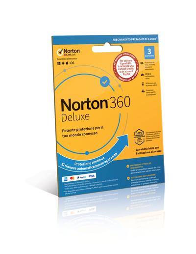 SYMANTEC NORTON 360 DELUXE - 3 DISPOSITIVI - ABB. PREPAGATO  Default image