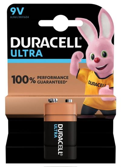 DURACELL ULTRA 9V BATTERIA ALCALINA X1 9V 6LR61 MX1604  Default image